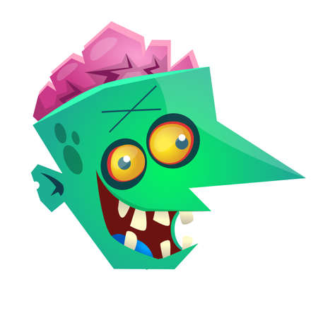 Green zombie head with pink brains. Halloween vector illustration Isolated on white background Illustration