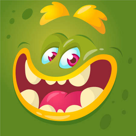 Cartoon monster face. Vector Halloween green monster avatar with wide smile Illustration