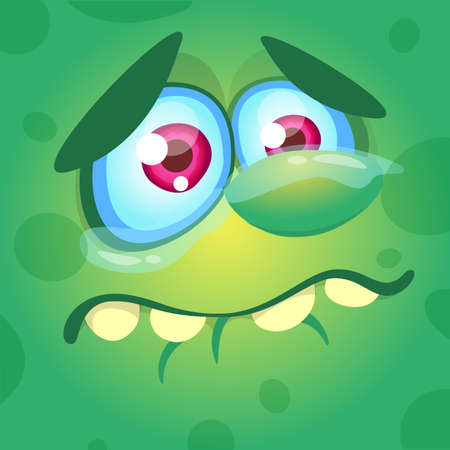 Cartoon monster face. Vector Halloween green sad monster crying