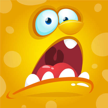 Cartoon monster face. Vector Halloween yellow screaming monster avatar