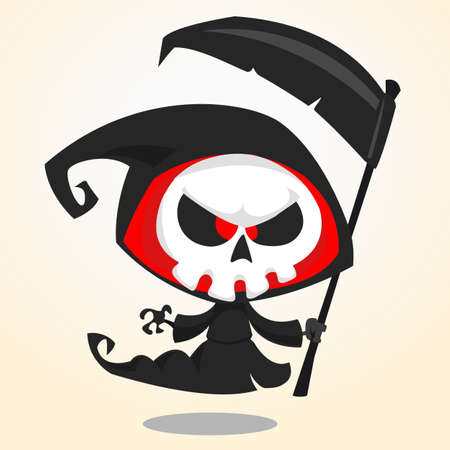 guada�a: Cute cartoon grim reaper with scythe isolated on white. Cute Halloween skeleton death character icon