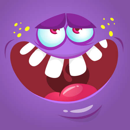 Cartoon monster face. Vector Halloween violet monster avatar Illustration