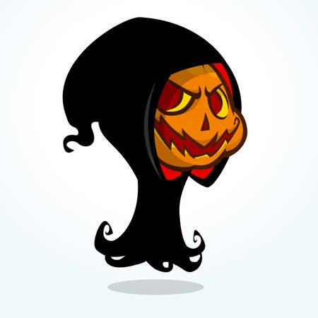 pumpkin head: Cartoon grim reaper pumpkin isolated on white. Halloween vector illustration of pumpkin head with smiling expression in black hood
