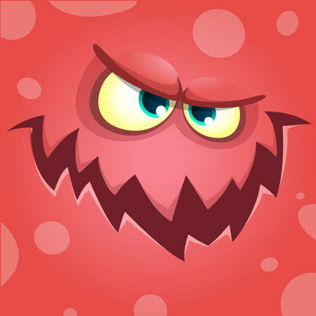 screaming: Cartoon screaming monster face. Vector Halloween red angry monster avatar