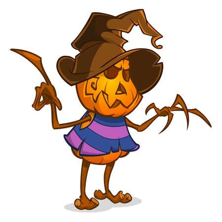 guadaña: Espantapájaros con cabeza de calabaza con un sombrero de bruja y trapos. cabeza de calabaza estilo de dibujos animados con las manos. vector aislado