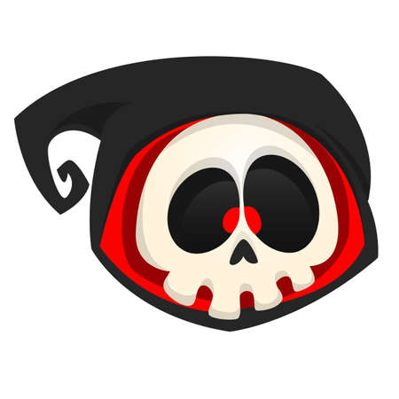 Cartoon hoofd van de dood icoon. Halloween vector icon van de dood schedel mascotte op een witte achtergrond. Magere Hein
