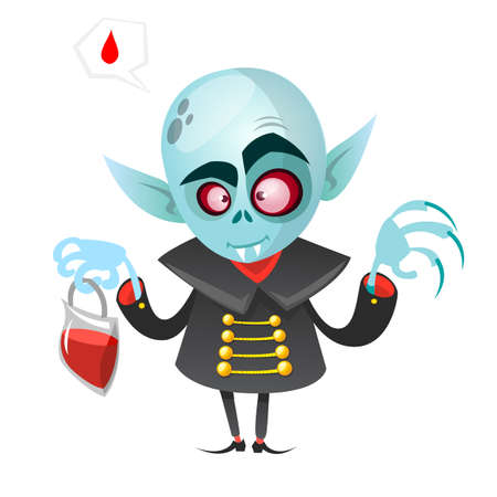 Cartoon vampire. Halloween vector illustration vampire holding pack of blood isolated on white background Ilustrace