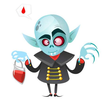 Cartoon vampire. Halloween vector illustration vampire holding pack of blood isolated on white background Illustration