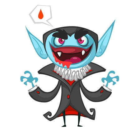 Cute cartoon vampire smiling. Vector illustration with speech bubble Illustration