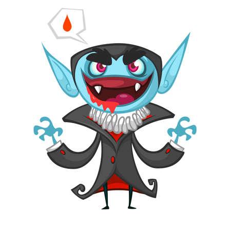 nosferatu: Cute cartoon vampire smiling. Vector illustration with speech bubble Illustration