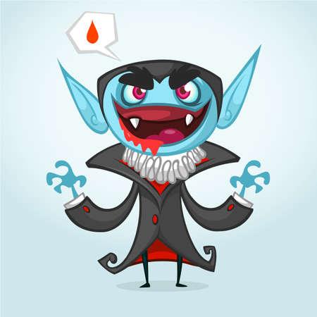 nosferatu: Cute cartoon vampire smiling. Vector illustration