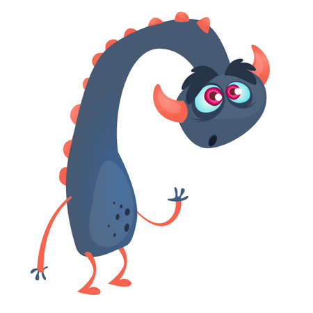 Cartoon blue monster dragon. Vector illustration