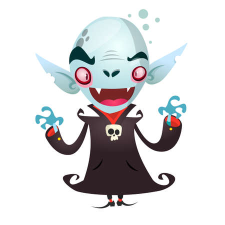 Cute cartoon vampire smiling. Vector illustration