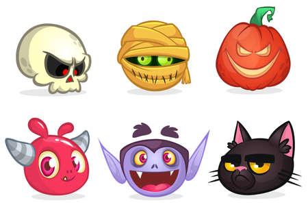 Halloween characters icon set. Cartoon heads of skull, mummy, pumpkin head, pink monster, vampire, witch cat