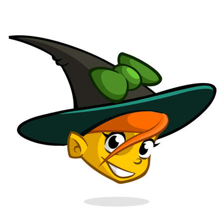 hag: Cartoon witch face. Vector clip art illustration of Halloween witch head icon