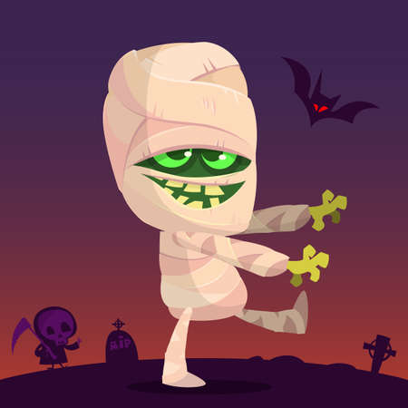 Cartoon walking mummy character. Vector clip art illustration of mummy monster for Halloween isolated on night background with cemetery, tombs and walking zombie silhouette
