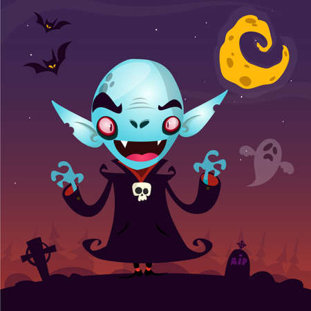 Cute cartoon vampire. Halloween vampire character isolated on dark background fith cemetery, ghost and moon. Great for card or poster Illustration