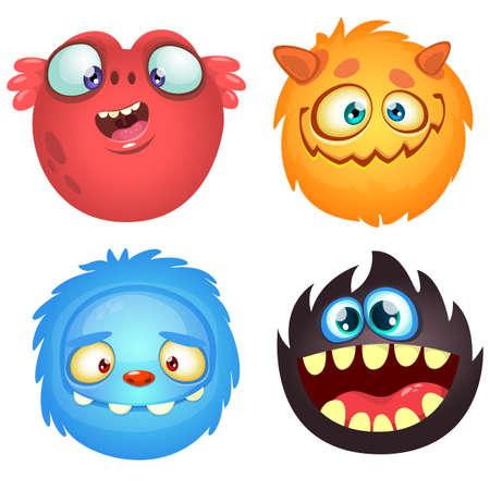 monstres mignons de bande dessinée. Vector set of 4 Halloween monstre icônes Vecteurs