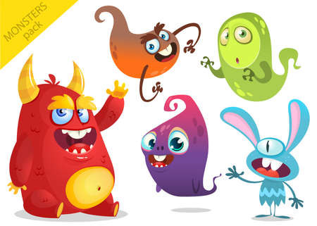 scary story: Cartoon Monsters. Vector set of cartoon monsters isolated