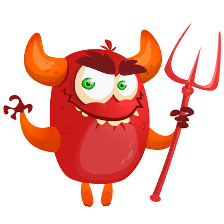 Devil laughing and holding a trident. Vector illustration with simple gradients. Stock Illustratie