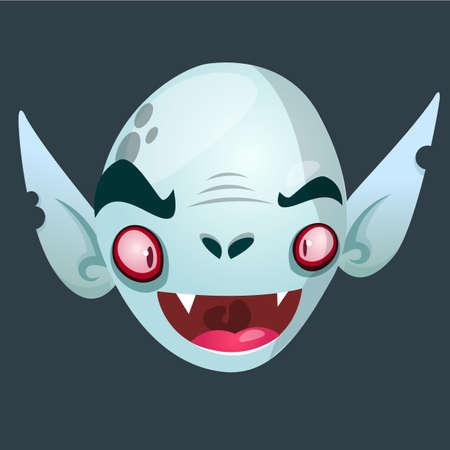 Vimpire character icon. Halloween dracula head icon. Vector illustration usolated on dark background