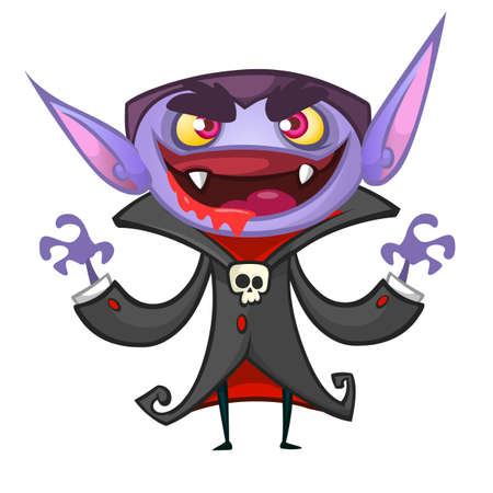 Cute cartoon vampire smiling. Vector illustration of dracula Illustration