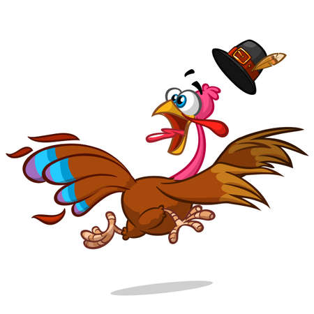escape: Turkey Escape Cartoon Mascot Character. Vector Illustration Isolated on white Illustration