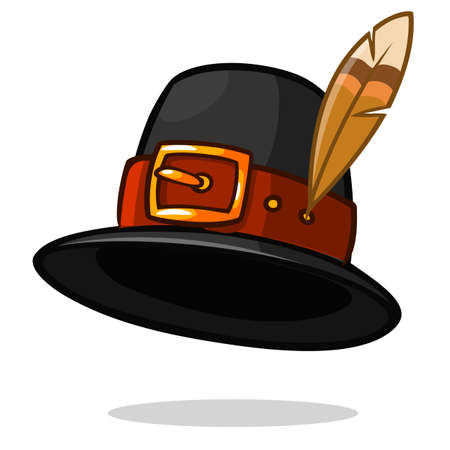 Pilgrim hat on white, Thanksgiving symbol, vector
