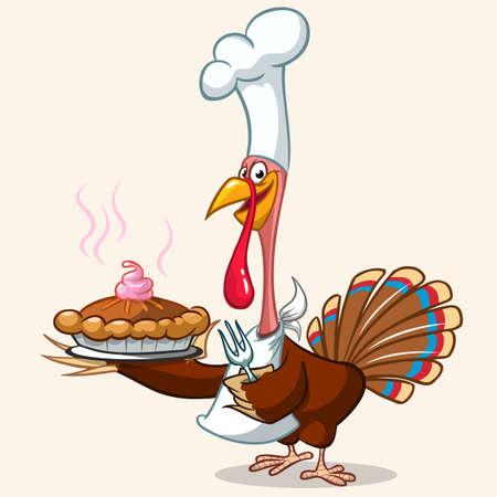 Thanksgiving turkey serving hot pumpkin pie. Vector cartoon