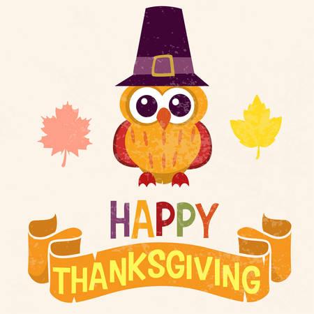 pilgrim costume: Retro Thanksgiving Day card design with cute little owl in Pilgrim hat on light background