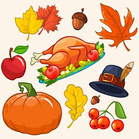 pilgrim hat: Set of colorful cartoon icons for thanksgiving day: pumpkin, autumn leaves, pilgrim hat, turkey, akorn, apple, cranberries