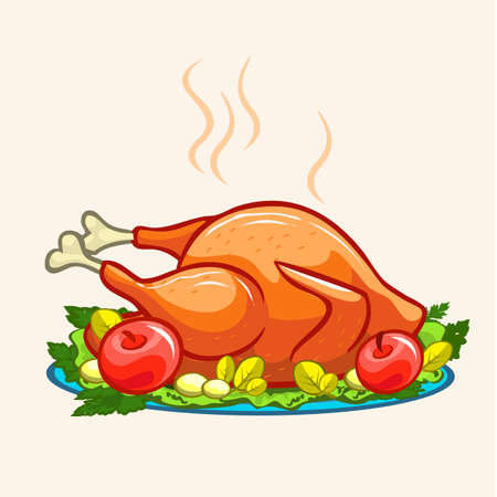 Thanksgiving appetizing fried turkey meal. Vector illustration