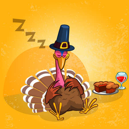 pumpkin pie: Sleeping turkey after good meal with pie and glass of red vine. Thanksgiving illustration of cartoon turkey isolated on orange background