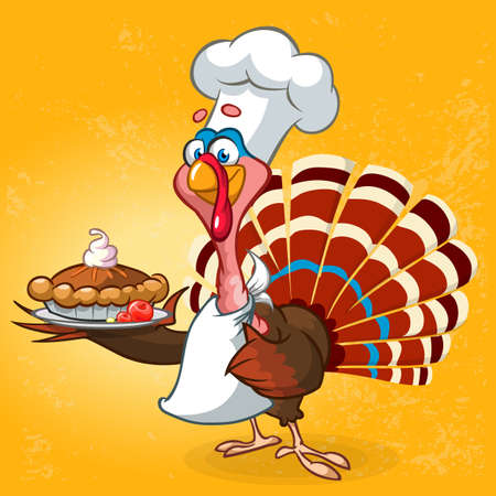 Thanksgiving turkey chief cook serving pumpkin pie. Vector cartoon character Vectores