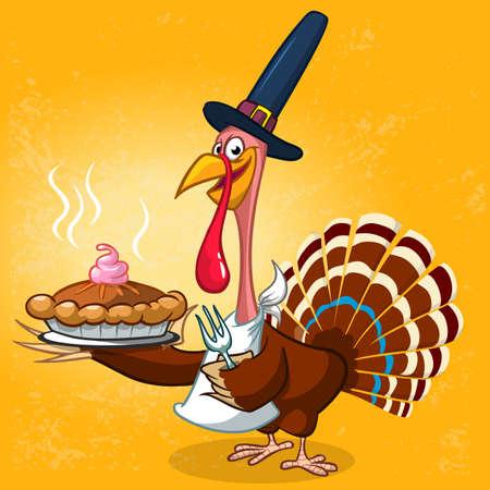 Thanksgiving turkey in pilgrim hat serving hot pumpkin pie. Vector cartoon character