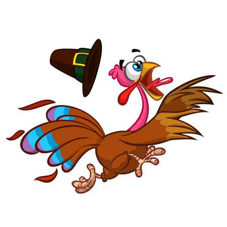 Happy turkey cartoon running . Vector cartoon Illustration