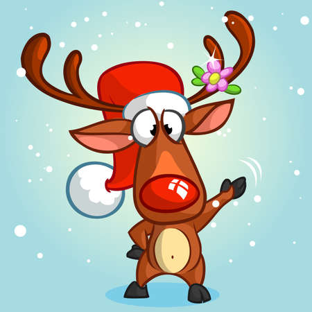 red nose: Red nose reindeer and cute elf. Christmas vector characters