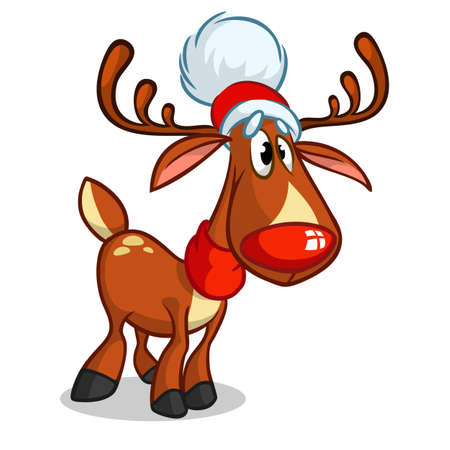 Red nose reindeer and cute elf. Christmas vector characters