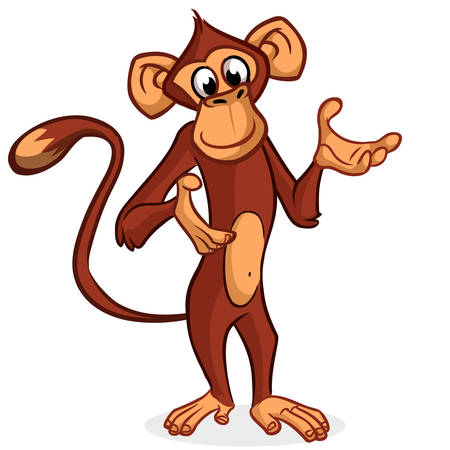 Cute monkey presenting and pointing hand. Vector Cartoon character on a white background