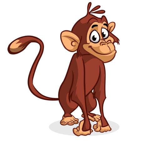 chimp: Vector illustration of isolated chimp monkey sitting Illustration