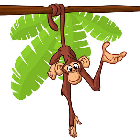 Cute monkey hanging on the tree branch with his tail Illustration