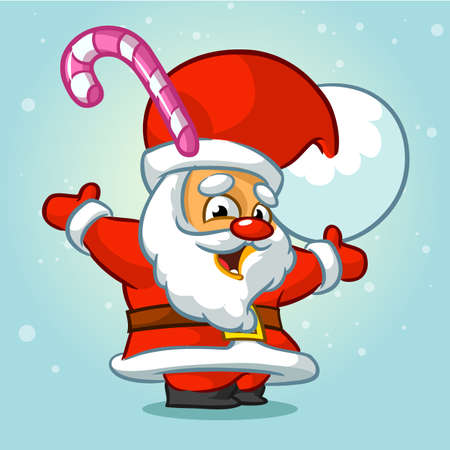 Funny Santa Claus with candy in his hat. Christmas greeting card background poster. Vector illustration.