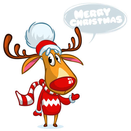 Christmas reindeer in Santa hat with speech bubble. Vector illustration on white background
