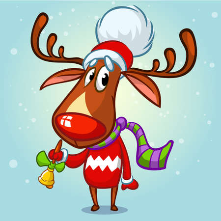 Christmas reindeer in Santa hat ringing a bell. Vector illustration on snowy background
