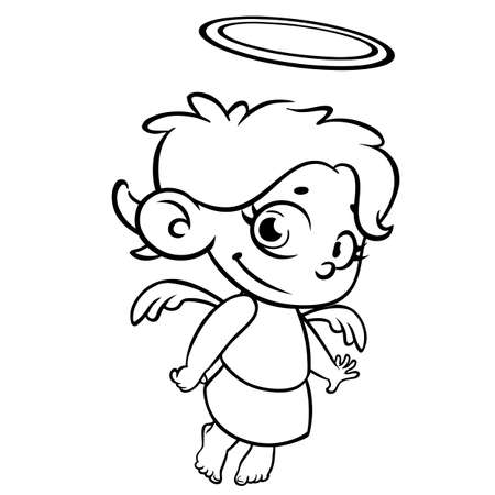 Outlined Christmas angel. Coloring page