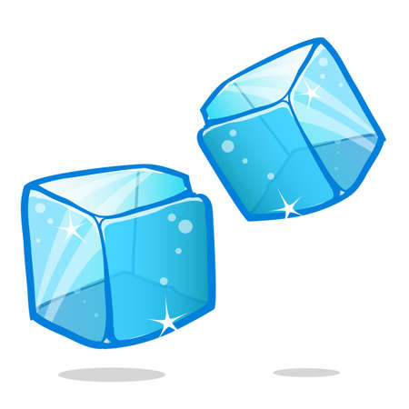 Ice cubes and melted ice cube vector set on white background Illustration