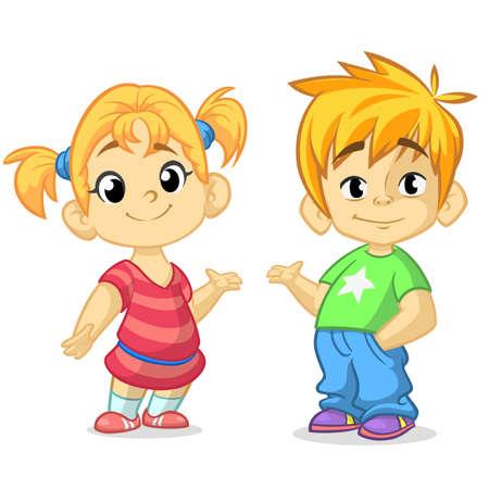 Garçon mignon dessin animé et fille avec les mains en illustration vectorielle. Conception de voeux garçon et fille. Robe d'été pour enfants. Vecteur d'enfants. Style décontracté habillé des enfants. Blond frère et soeur présentant. Vecteurs