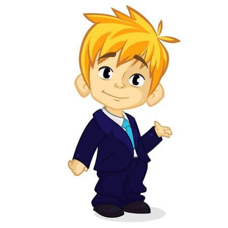 Illustration vectorielle d'un garçon blond dans les vêtements de l'homme. Caricature d'un jeune garçon vêtu d'un costume d'affaires présentant Vecteurs
