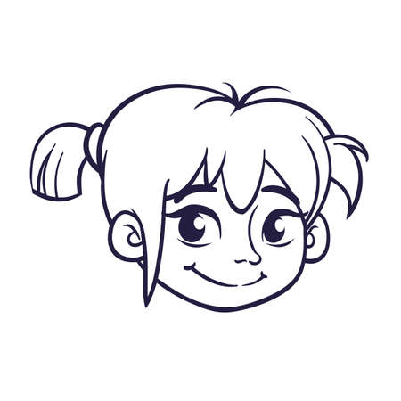 Cartoon cute girl face outlined. Vector illustration of a small girl Illustration