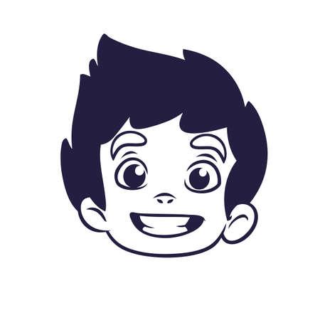Feliz Contorno De Cabeza De Niño De Dibujos Animados. Ilustración ...